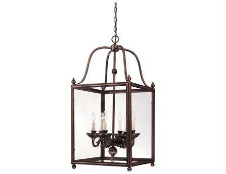 Savoy House Entry Lanterns Crabapple Old Bronze Six-Light Foyer Pendant