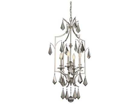 Savoy House Ballard Polished Nickel Four-Light 20.75'' Wide Mini-Chandelier with Light Gray Smoked Crystal and Metal Candle Cover