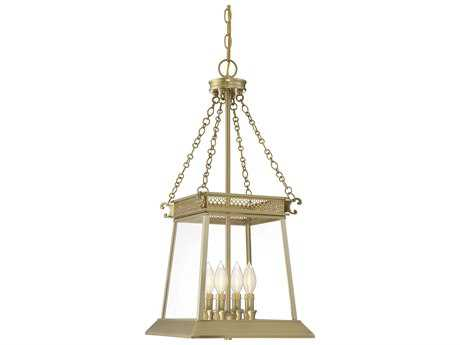 Savoy House Norwich Warm Brass Lustre Four-Light 12.5'' Wide Mini-Chandelier with Clear Glass