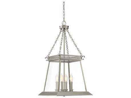 Savoy House Norwich Polished Nickel Four-Light 16'' Wide Mini-Chandelier with Clear Glass