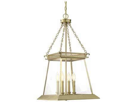 Savoy House Norwich Warm Brass Lustre Four-Light 16'' Wide Mini-Chandelier with Clear Glass