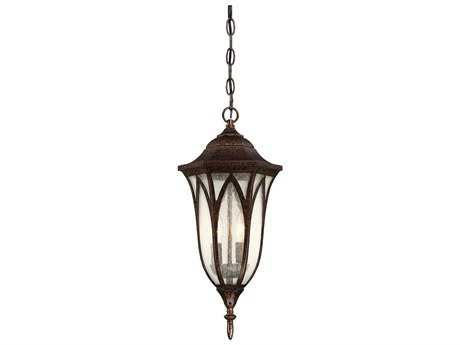 Savoy House Dayton New Tortoise Shell Two-Light 9'' Wide Outdoor Pendant Light with Seeded Glass