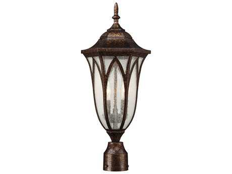 Savoy House Dayton New Tortoise Shell Two-Light Outdoor Post Light with Seeded Glass