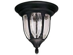 Savoy House Outdoor Living Tudor Textured Black Two-Light Outdoor Flush Mount Light