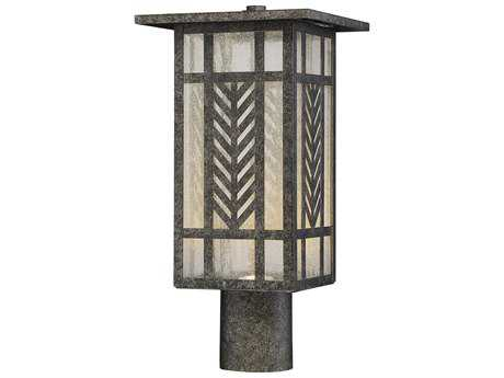 Savoy House Waterton Graphite LED Outdoor Post Light with Clear Seedy Glass