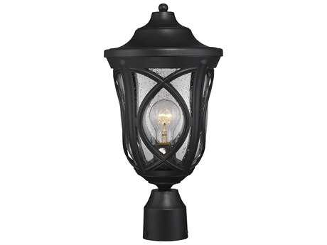 Savoy House Highgate Black Outdoor Post Light with Clear Seedy Glass