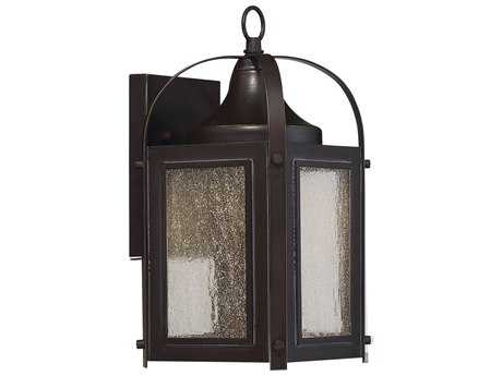 Savoy House Formby English Bronze with Gold LED Outdoor Wall Light with Clear Seedy Glass