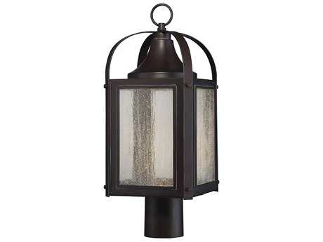 Savoy House Formby English Bronze with Gold LED Outdoor Post Light with Clear Seedy Glass