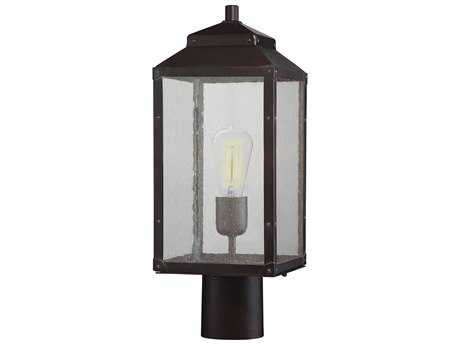 Savoy House Brennan English Bronze with Gold Outdoor Post Light with Clear Seedy Glass