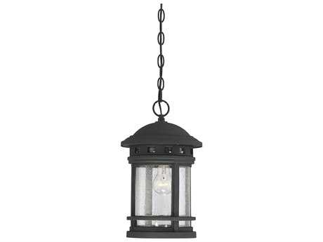 Savoy House Upton Black 9'' Wide Outdoor Pendant Light with Seedy Glass