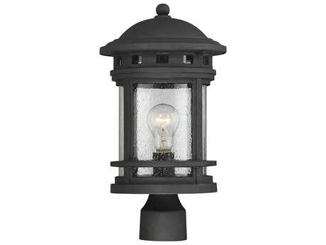 Savoy House Upton Black Outdoor Post Light with Seedy Glass