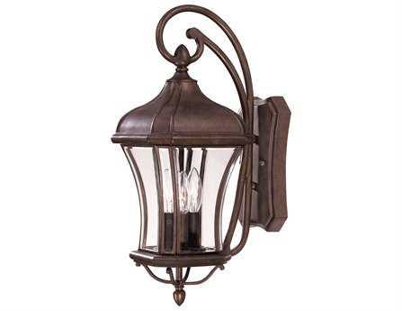 Savoy House Outdoor Living Realto Walnut Patina Three-Light Outdoor Wall Light