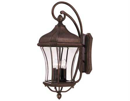 Savoy House Outdoor Living Realto Walnut Patina Four-Light Outdoor Wall Light