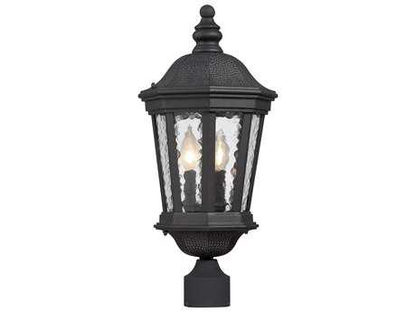 Savoy House Hampden Black Two-Light Outdoor Post Light with Metal Candle Cover