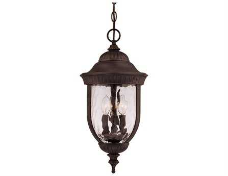 Savoy House Outdoor Living Castlemain Black & Gold Three-Light Outdoor Hanging Pendant