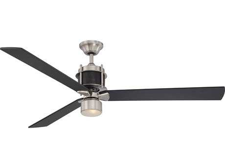 Savoy House Muir Satin Nickel & Black Indoor Ceiling Fan with Etched Glass