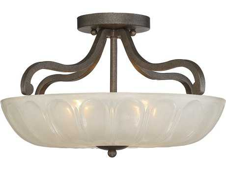 Savoy House Stuart Galaxy Bronze Three-Light 17.5'' Wide Semi-Flush Mount Ceiling Light with White Opalescent Glass