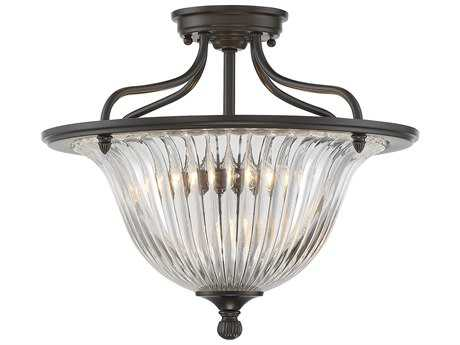 Savoy House Aberdeen Classic Bronze Three-Light 16'' Wide Semi-Flush Mount Ceiling Light with Clear Ribbed Glass
