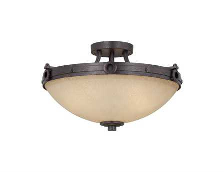 Savoy House Olde World Elba Oiled Copper Three-Light Semi-Flush Mount Light