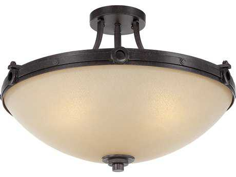 Savoy House Elba Oiled Copper Four-Light 21'' Wide Semi-Flush Mount Ceiling Light with Cream Textured Glass