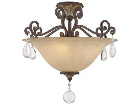 Savoy House St. Laurence New Tortoise Shell with Silver Four-Light 24'' Wide Semi-Flush Mount Ceiling Light with Cream Marble Glass and Clear Crystal
