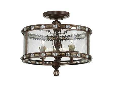 Savoy House Rustica Paragon Gilded Bronze Three-Light Semi-Flush Mount Light