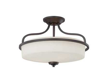 Savoy House Main Street Charlton English Bronze Three-Light Semi-Flush Mount Light