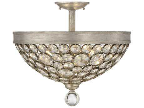 Savoy House Obsidian Argentum Three-Light 18'' Wide Semi-Flush Mount Ceiling Light with Clear Crystal and Metal Candle Cover