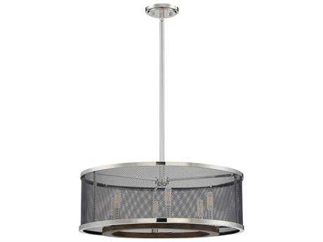 Savoy House Valcour Polished Nickel / Graphite & Wood Accents Six-Light 24'' Wide Pendant Ceiling Light
