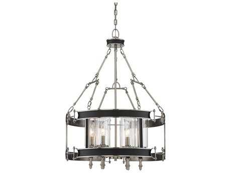 Savoy House Gramercy Polished Pewter & Black Leatherette Six-Light 23.5'' Wide Pendant Ceiling Light