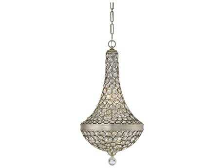 Savoy House Obsidian Argentum Six-Light 17.5'' Wide Pendant Ceiling Light with Clear Crystal and Metal Candle Cover