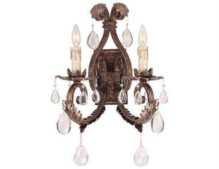 Savoy House Olde World Chastain New Tortoise Shell & Silver Two-Light Wall Sconce