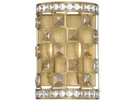 Savoy House Clarion Gold Bullion Two-Light Wall Sconce with Clear Crystal and Metal Candle Cover