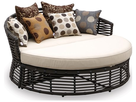 Sunset West Quick Ship Venice Wicker 2-Piece Daybed in Antique Beige
