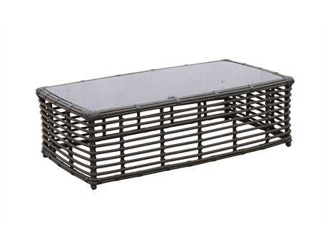 Sunset West Quick Ship Venice 48L x 26 Wide Wicker Rectangular Coffee Table