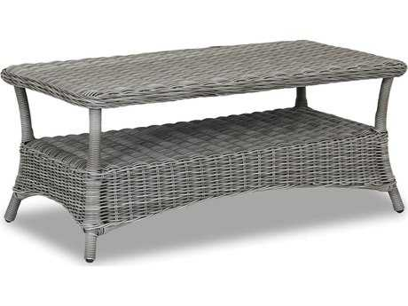 Sunset West Quick Ship La Costa Wicker 49 x 26 Rectangular Coffee Table
