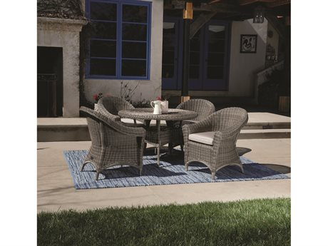 Sunset West Quick Ship La Costa Wicker Round Dining Table with Dining Chairs