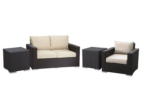 Sunset West Quick Ship Solana Wicker Loveseat with Club Chairs and Nesting Tables