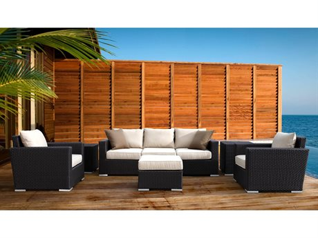 Sunset West Solana Wicker Sofa with Club Chairs Nesting Tables and Ottoman