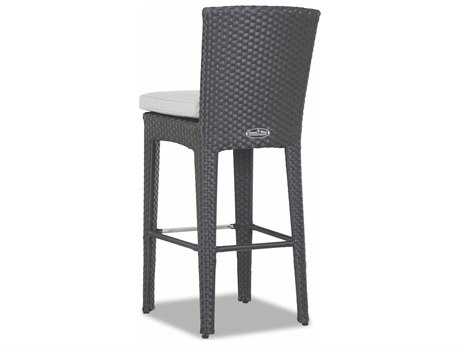 Sunset West Solana Quick Ship Chocolate Brown Wicker Cushion Bar Stool in Cast Silver