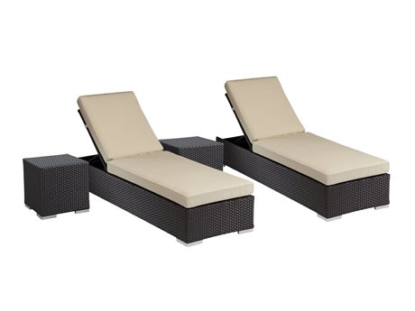 Sunset West Quick Ship Solana Wicker Chaises with Nesting Tables