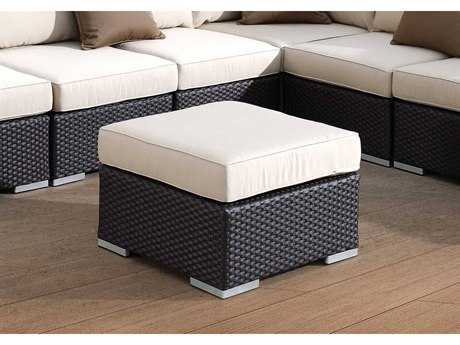 Sunset West Quick Ship Solana Wicker Square Ottoman