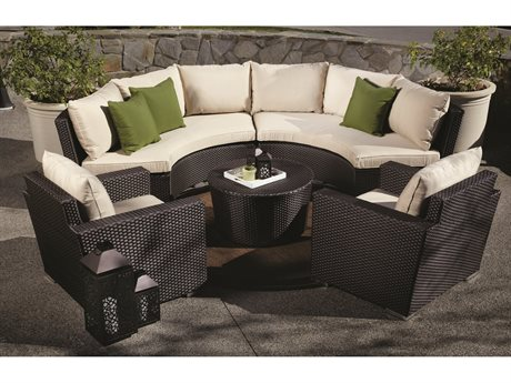 Sunset West Quick Ship Solana Wicker Round Sofa with Club Chairs and Coffee Table