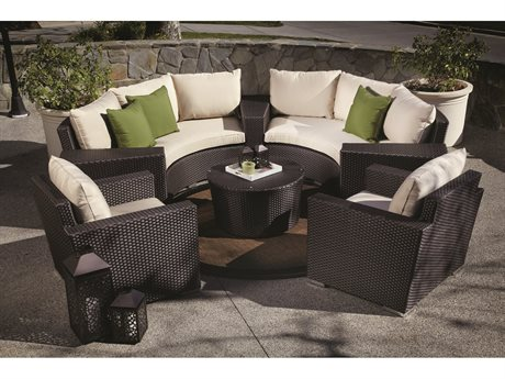 Sunset West Quick Ship Solana Wicker Round Sofa with Club Chairs Wedge Tables and Round Coffee Table