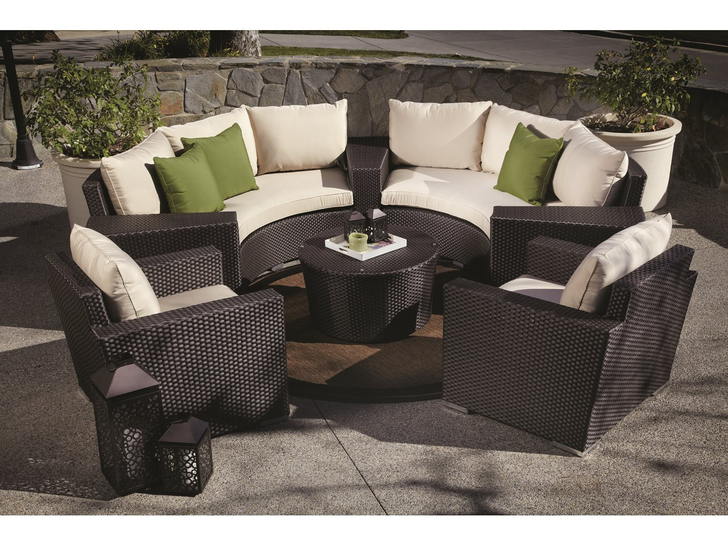 sunset west quick ship solana wicker round sofa with club chairs wedge tables and round coffee. Black Bedroom Furniture Sets. Home Design Ideas