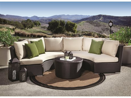 Sunset West Solana Wicker Round Sofa and Round Coffee Table
