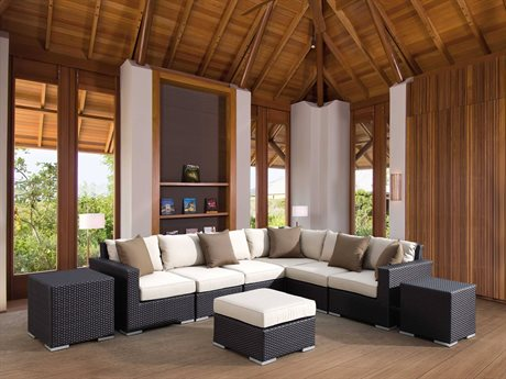 Sunset West Quick Ship Solana Wicker Sectional with Ottoman and Nesting Tables