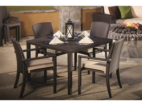 Sunset West Quick Ship Solana Wicker 44 Square Dining Table with Dining Chairs