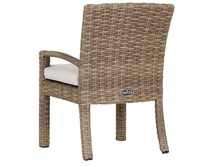 Sunset West Quick Ship Havana Wicker Dining Chair in Canvas Flax
