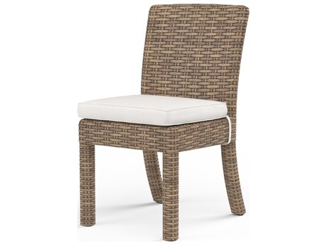 Sunset West Quick Ship Havana Wicker Armless Dining Chair in Canvas Flax